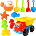Beach Sand Toys for Kids - 11 PCS Sand Castle Toys for Beach, Snow Toys Sandbox Toys with Truck, Watering Can, Shovels, Rakes, Animal Castle Molds in Mesh Bag, Kids Outdoor Toys