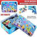 LNKOO Wooden Jigsaw Puzzles Set for Kids Age 3-8 Year Old 100 Piece Animals Colorful Wooden Puzzles for Toddler Children Learning Educational Puzzles Toys for Boys and Girls