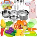 FUNERICA Pretend Play Cooking Set - 35-Piece Kids Kitchen Accessories Set with Stainless Steel Play Pots and Pans, Kitchen Utensils, Cutting Vegetables, Knife, Apron, Chef Hat, and Storage Container