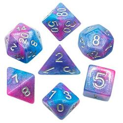 UDIXI 7PCS Polyhedral Dice, D&D Dice, Sparkle Galaxy DND Dice Set- for Role Playing Dice Games as Dungeons and Dragons RPG MTG Table Games? (Pink&Purple&Blue)