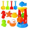 Aimik Beach Sand Toys for Kids, Toddlers Beach Toy Sand Set Summer Outdoor Toy Sandpit Learning Playing Toy Gift Set for Children's (11 Piece)