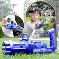 Bubble Gun, Gatling Bubble Machine 2021 Bubble Gun 8-Hole Bubble Blower Automatic Bubble Maker Electric Bubble Gun Bubble Machine Toy for Girls Boys Kids (Blue)