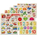 3D Wooden Puzzles Toy Kids Baby Educational Toys Alphabet and Number Puzzle Set Wooden Upper Case Letter Number and Animal Learning Puzzles Board Toy, for 3 4 5 Years Old Toddlers Boys Girls
