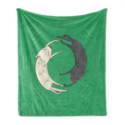 Yin Yang Soft Flannel Fleece Throw Blanket, Symbolic Image of 2 Sleeping Cats Forming Yin Yang Shape and Trigrams, Cozy Plush for Indoor and Outdoor Use, Sea Green Grey White, by Ambesonne