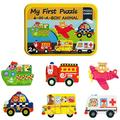 VONTER 6 in 1 Wooden Puzzles Vehicles exciting Automobiles Wooden Jigsaw Puzzles Games iron Box My First Puzzle Set for Toddlers Kids Educational Toy for Ages 3+ Portable Jigsaw