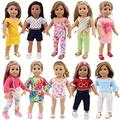 ZWSISU 10 Sets of Girl Doll Clothes Clothing Dresses Outfits Fit Girl 18 Inch American Girl Dolls My Our Life Generation Doll and Other 18 Inch Dolls Clothes