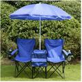 Double Folding Chair, Portable Camping Chair with Removable Umbrella, Table Cooler Bag, Carrying Bag, Fold Up Steel Seat for Patio Beach Lawn Picnic Fishing Picnic Garden, Blue, W10662