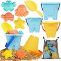 Sand Toys for Kids Toddlers - 9 Beach Toys Includes 3 Beach Sand Castle Bucket, Toy Shovel and Sand Castle Toys for Beach - Sandbox Toys Set with Bonus Waterproof Carrying Net for Kids 3-10