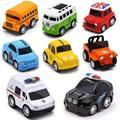 EIMELI Metal Pull Back Cars, 8 Pack Mini Die Cast Toy Cars Set, Police Car/School Bus/Ambulance Car/Bus/Classic car Kids Toys Vehicles Friction Powered,for Aged 3-12 Year Boys Girls Kids 8pcs/set