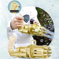 Gatling Bubble Machine - 2021 Upgraded Bubble Gatling Gun with 8-Hole Huge Amount Automatic Bubble Maker Summer Outdoor Activities Bubbles Gun for Kids,Gold
