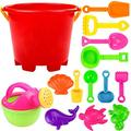 ZOZ Beach Toys 14pcs Toy Sand Shovels, Sand Toys Set with Bucket, Sand Water Wheel, Rakes, Shovels, Colorful Animal Models & Molds, Summer Beach Sand Toys for Boys, Girls, Toddlers, Sand for Kids