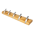 Household Bamboo Wall Hanging 5 Hook Coat Hanger And Hat Rack Save Space (Black, White, Log Color)
