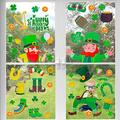 St. Patrick's Day Window Clings, 50+ PCS Removable Sefl Adhesive Leprechaun Shamrock Clover Golden Coin Beer Happy St. Patricks Day Window Stickers for Kids Home Decorations Party Supplies