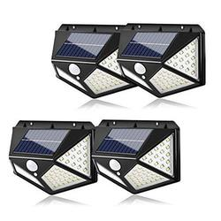 Outdoor LED Solar Lights, AMMTOO LED Solar Motion Sensor Security Lights, 270° Wide Angle Wireless Solar Powered Lights with 3 Modes Waterproof Solar Wall Lights for Garden (4 Pack)