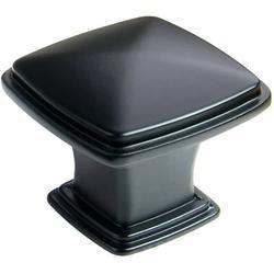 "SH3056-FB-25 25 Pack, Traditional Square Cabinet Drawer Knob, 1-1/4"", Flat Black Finish"