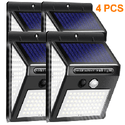 Xelparuc 4 pieces of solar lights for outside 140 LED, solar lamps for outside with motion detector 1200mAh Waterproof LED solar lamp 3 modes 270 ° solar outdoor lamp for garden outside