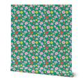 Wallpaper Roll Floral Flowers Pattern Retro 1960 Digital Colorful 24in x 27ft