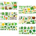12 Sheet St. Patrick's Day Shamrock Window Clings Decal Stickers- 130+ Green Shamrock Floor Decal Good Luck Coins Irish Wall Stickers for Happy St. Patrick's Day Party Ornaments Festival Décor