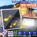 100W Solar Flood Lights, 192 LEDs 8000LM High Bright Solar Security Lights Outdoor IP67 Waterproof with Remote Control, Dusk to Daybreak Sensor, 7000K Solar Lights for Barn,Yard,Pathway