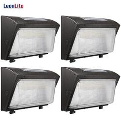 LEONLITE 4-Pack LED Wall Pack Light, 120W(800W Eqv.), 0-10V Dimmable Commercial LED Wall Pack, IP65 Waterproof, 5000K Daylight, Outdoor LED Wall Pack for Garage, Factories, Warehouses