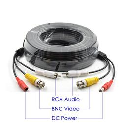 Evertech 50 Feet Pre-Made Cable with Video Audio & Power for CCTV Security Camera Black Color