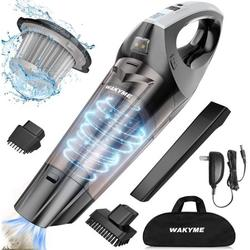 WAKYME Handheld Vacuum Cleaner, Vacuum Handheld, 9000PA Battery 2500mA Power Vacuum Cleaner Wet/Dry Noise Reduction Bagless Portable Vacuum Cleaner Quick Charge Household and Car Vacuum Cleaner, Black