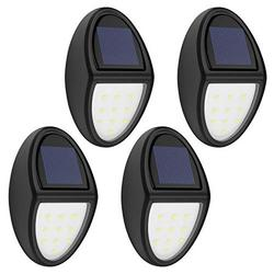 Solar Lights[4PCS], MoKo Waterproof Outdoor Solar Powered Lamp, Wireless Solar Auto Sensor Security Lights, Wall Mount Decorative Deck Light for Wall, Patio, Yard, Garden - BLACK