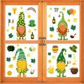 4 Sheets St Patrick's Day Window Stickers Clings Gnome Shamrock Window Decals Static Clover Stickers Irish Decal Stickers Happy St Patrick's Party Supplies Window Decorations