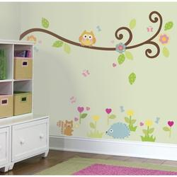 RMK1861SCS Happi Scroll Branch Peel and Stick Wall Decals, Comes with 65 wall decals ranging in size from 1-Inch wide x 1-Inch high to 1-Inch wide x 40-Inch high By RoomMates
