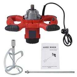 Higoodz Paint Mixer, 1pc Red 1500W Handheld 6-speed Electric Mixer for Stirring Mortar Paint Cement Grout AC 110V, Concrete Mixer
