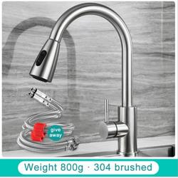 Yinrunx Kitchen Faucet Kitchen Faucets Faucet for Kitchen Sink Kitchen Faucets Single Handle with Pull Down Sprayer Sink Faucet Kitchen Sink Faucet with Nylon Hose Kitchen Sink Faucet Silver Faucet