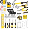 CACAGOO 108pcs Tool Set Household Hardware Hand Tools Socket Wrench Auto Repair Tool Combination Package Mixed Tool with Plastic Toolbox Storage Case