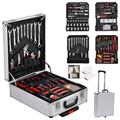 Rinhoo Trade Case Trolley Aluminum Box Portable Wrench Socket Organizer Tool Kit Set Rolling for Home Shop Workplace Use