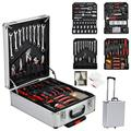 Case Trolley Aluminum Box Portable Wrench Socket Organizer Tool Kit Set Rolling for Home Shop Workplace Use