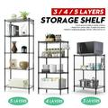 3/4/5-Tier Wire Shelving Unit Storage Organizer Height Adjustable Commercial Grade Heavy Duty Utility Metal Rack for Garage Office Kitchen , Black