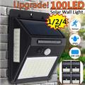 Solar Lights Outdoor, 100 LED Wireless Motion Sensor Lights, IP65 Waterproof Wall Light Easy-to-Install Security Lights for Outdoor Garden, Patio, Yard, Deck, Garage, Driveway, 1/2/4 Pack