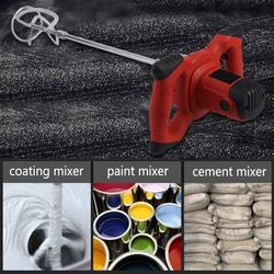 Greensen Paint Mixer,1pc Red 1500W Handheld 6-speed Electric Mixer for Stirring Mortar Paint Cement Grout AC 110V, Concrete Mixer