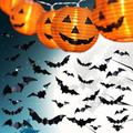 Halloween Decorations Indoor - Pumpkin String Lights and Bat Stickers Set for Halloween Party Room Decor (10 LED Jack-O'-Lantern 7ft, 3D Bats Wall Decals 36pcs)