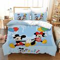 Haonsy Mickey and Minnie Mouse Bedding Duvet Cover Set Blue 3D Cartoon Mickey Mouse Comforter Sets Kids 3PCS Bedding Set Queen Size 1 Duvet Cover + 2 Pillowcase