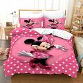 Haonsy Kids Minnie Mouse Bedding Sets Queen Size 3 Pieces Mickey and Minnie Mouse Duvet Cover Bed Set 3D Cartoon Mickey Minnie Mouse Comforter Set
