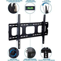Mount-It! Tilting TV Wall Mount Bracket for 32-65 inch LCD, LED, Plasma Flat Screen TV Universal Heavy Duty Television Mount With 175 lbs Load Capacity 15 Degree Tilt, Max VESA 600x400 wi
