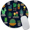 Cute Cactus Round Mouse Pad,Beautiful Mouse Mat, Cute Mouse Pad with Design, Non-Slip Rubber Base Mousepad, Waterproof Office Mouse Pad, Small Size 7.9 x 0.12 Inch