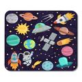 KDAGR Colorful Cute Space Cartoon Planet Astronaut Star Rocket Collection Mousepad Mouse Pad Mouse Mat 9x10 inch