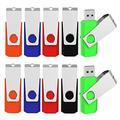 Aiibe 10pcs Colorful 4GB Flash Drive Bulk USB 2.0 Thumb Drives Swivel USB Memory Stick Pen Drive Zip Drives 10 Pack (5 Colors: Black Blue Green Red Orange)