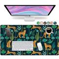 """French Koko Desk Pad Protector, Large 31"""" x 15"""" Cute Desk Decor, Laptop Mat, Desk Writing Pad, Office Mouse Pad Computer Mouse, Home Office Accessories Mouse Pad Mousepad (Leopard Jungle)"""