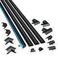 D-Line Small Cable Raceway Kit Self-Adhesive Wire Covers Electrical Raceway, Popular Cable Organizer for Home Theater, TV, Office and Home 4 x 39 Inch Channels Per Pack - (Micro+, Black)