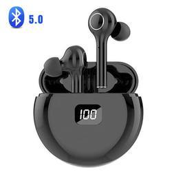 Bluetooth 5.0 Headphones Wireless Earbuds CVC 8.0 Noise Cancellation in-Ear Wireless Headphones Hi-Fi Stereo Sweatproof Earphones Sport Headsets Built-in Mic for Work/Running/Travel/Gym (Black)