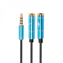 3.5mm Jack Earphone + Microphone Audio Splitter 4 Pole Aux Extension Adapter Cable For Laptop PC Headphone Speaker Phone new