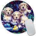 Dog Playing Toy Duck Round Mouse Pad,Beautiful Mouse Mat, Cute Mouse Pad with Design, Non-Slip Rubber Base Mousepad, Waterproof Office Mouse Pad, Small Size 7.9 x 0.12 Inch