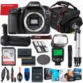 Canon EOS 80D DSLR Camera Body Only Bundle + Battery Grip + Premium Accessory Bundle Including 64GB Memory, Extra Battery, Photo/Video Software Package, Shoulder Bag & More